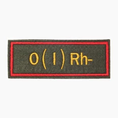 Нашивка группа крови O(I) Rh- офисная
